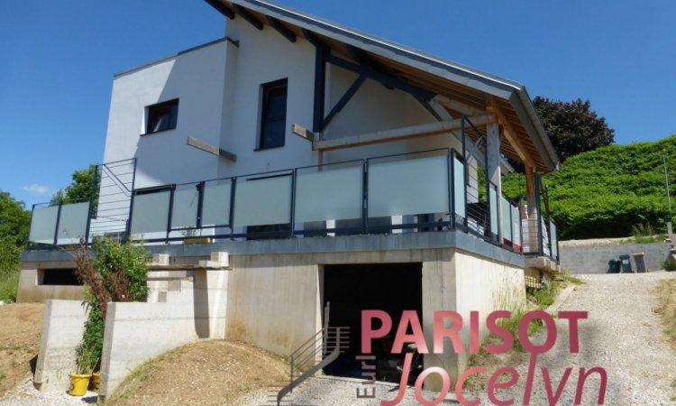 Garde corps extérieur sur-mesure en métal et verre opale sur terrasse Echenoz,  Métallerie PARISOT Jocelyn
