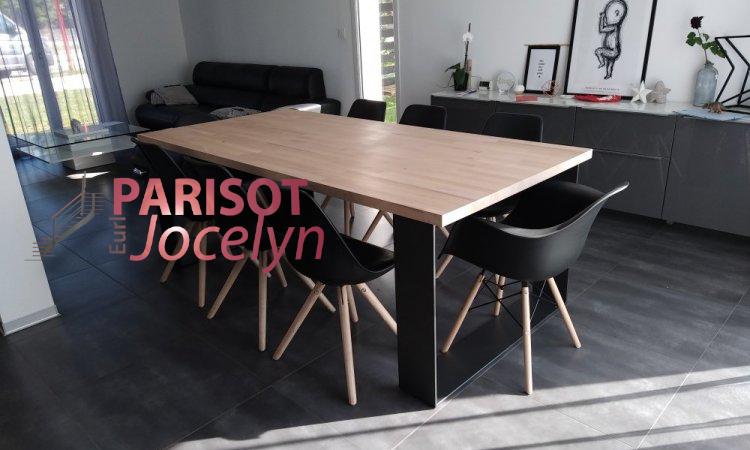 Création pieds de table forme carrée en fer plat large  sur mesure sur Vesoul,  Métallerie PARISOT Jocelyn